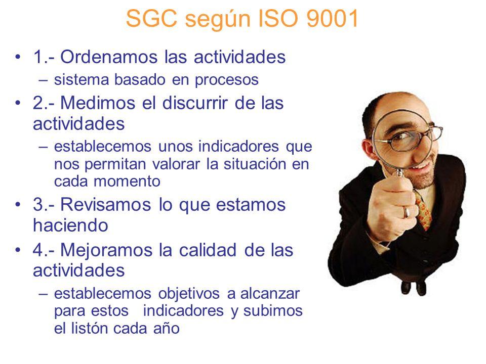 Diapositiva 41 SGC según ISO 9001 1.- Ordenamos las actividades –sistema basado en procesos 2.- Medimos el discurrir de las actividades –establecemos