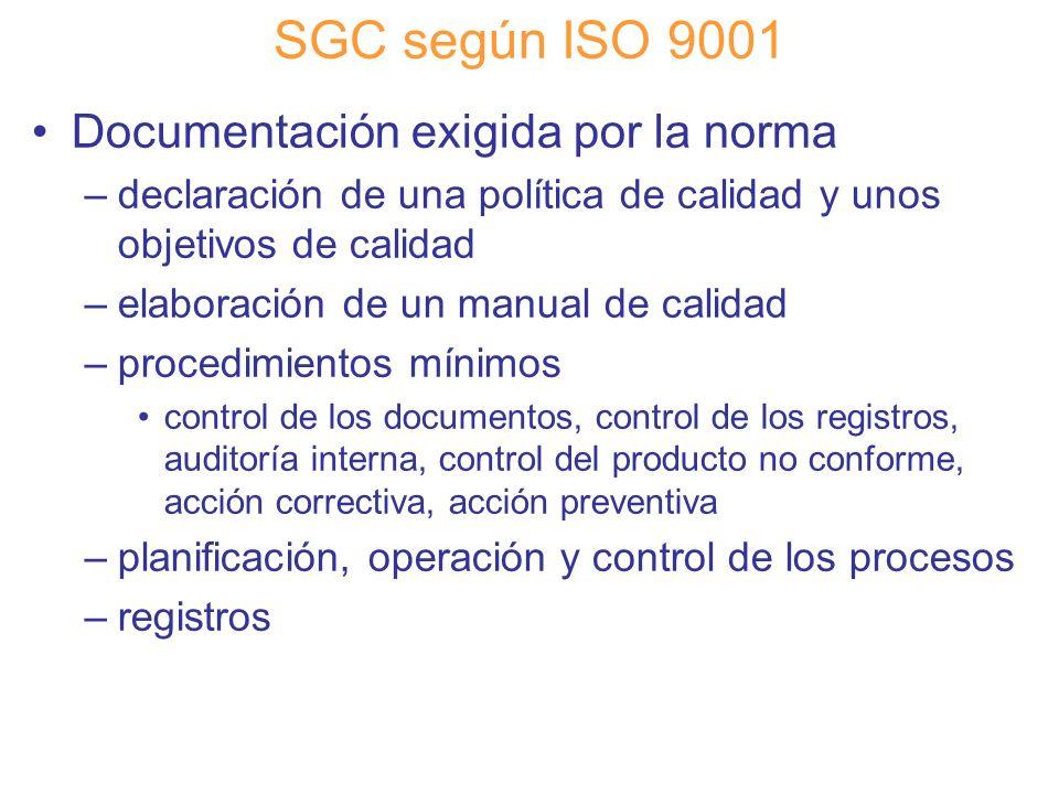 Diapositiva 47 SGC según ISO 9001 Documentación exigida por la norma –declaración de una política de calidad y unos objetivos de calidad –elaboración