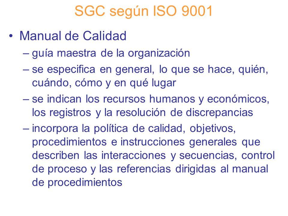 Diapositiva 49 SGC según ISO 9001 Manual de Calidad –guía maestra de la organización –se especifica en general, lo que se hace, quién, cuándo, cómo y