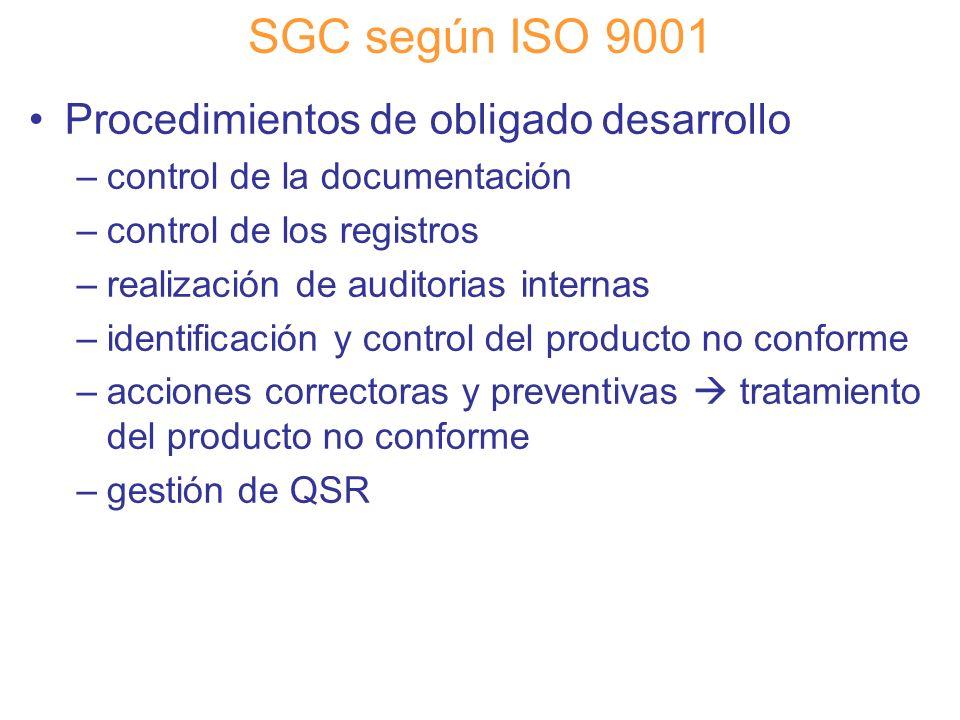 Diapositiva 53 SGC según ISO 9001 Procedimientos de obligado desarrollo –control de la documentación –control de los registros –realización de auditor