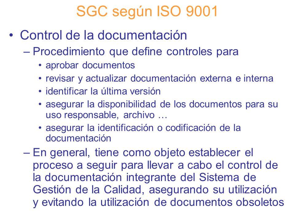 Diapositiva 54 SGC según ISO 9001 Control de la documentación –Procedimiento que define controles para aprobar documentos revisar y actualizar documen