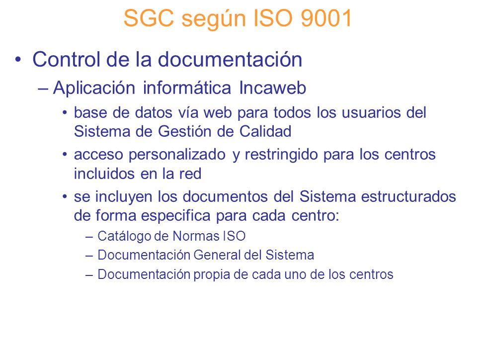 Diapositiva 55 SGC según ISO 9001 Control de la documentación –Aplicación informática Incaweb base de datos vía web para todos los usuarios del Sistem