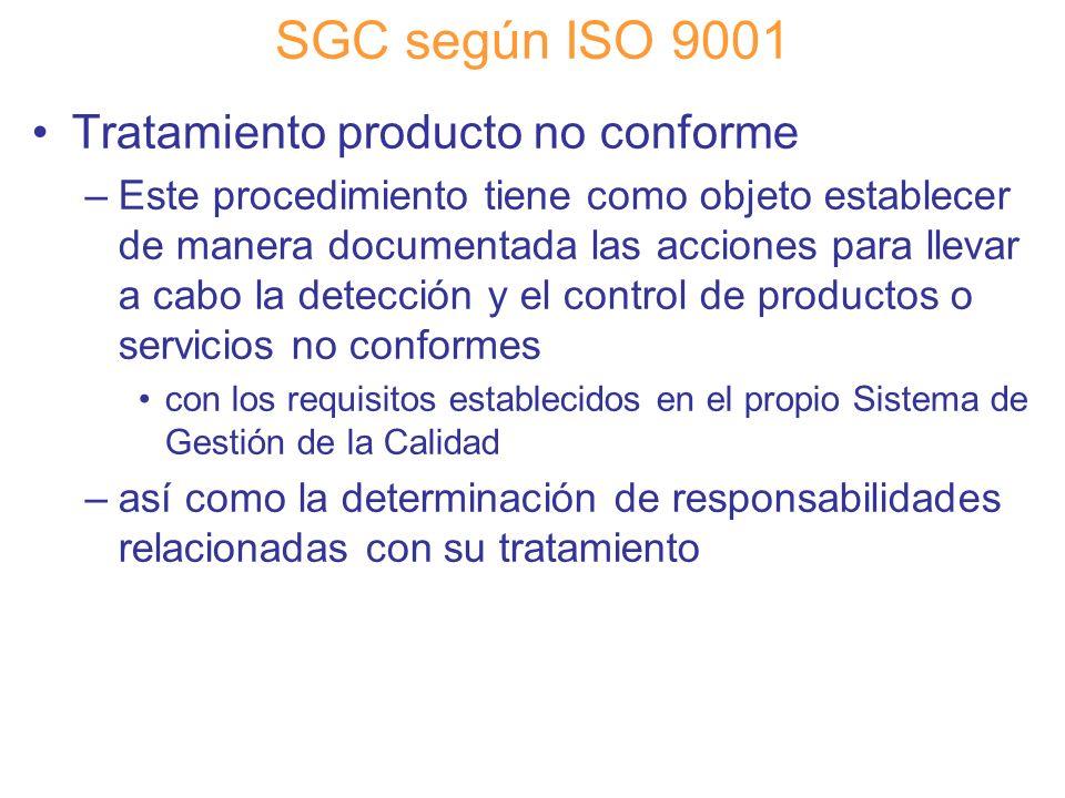 Diapositiva 58 SGC según ISO 9001 Tratamiento producto no conforme –Este procedimiento tiene como objeto establecer de manera documentada las acciones