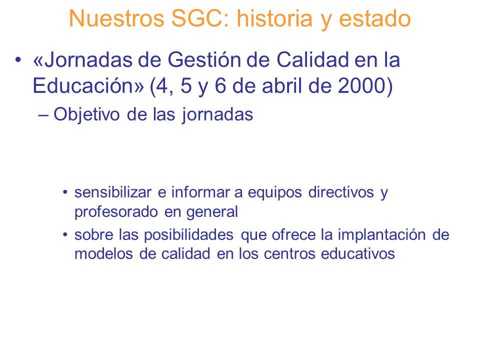 Diapositiva 6 Nuestros SGC: historia y estado «Jornadas de Gestión de Calidad en la Educación» (4, 5 y 6 de abril de 2000) –Objetivo de las jornadas s