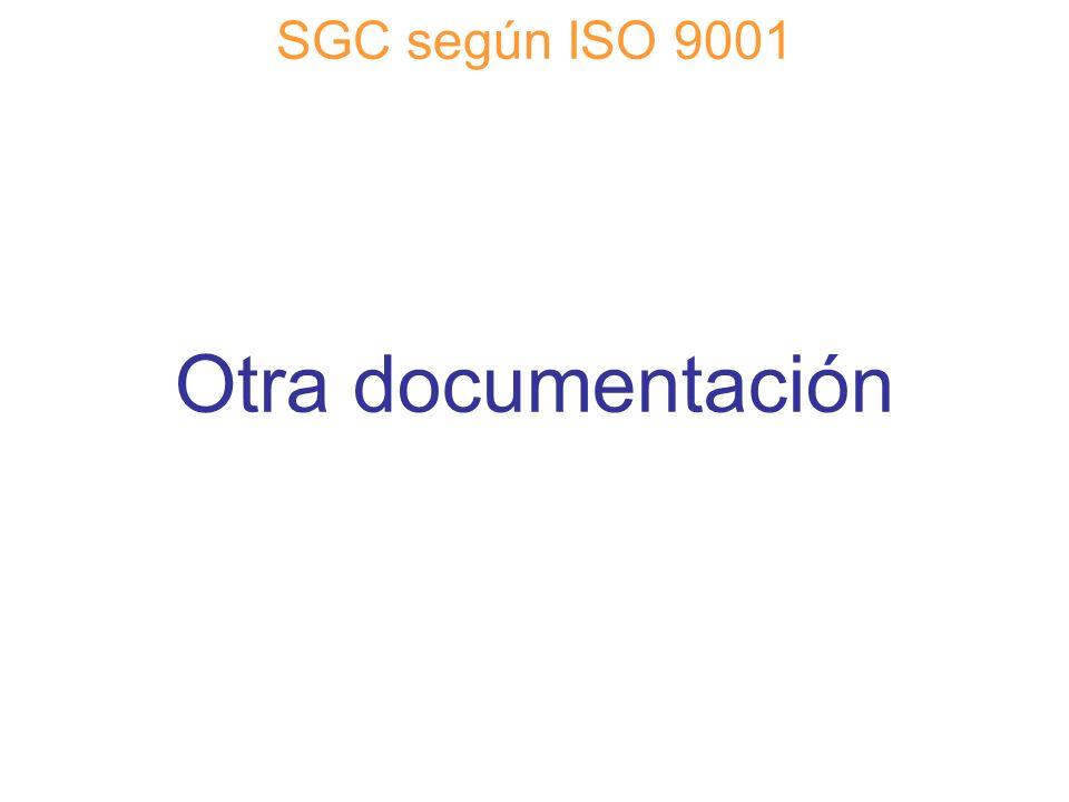 Diapositiva 62 SGC según ISO 9001 Otra documentación