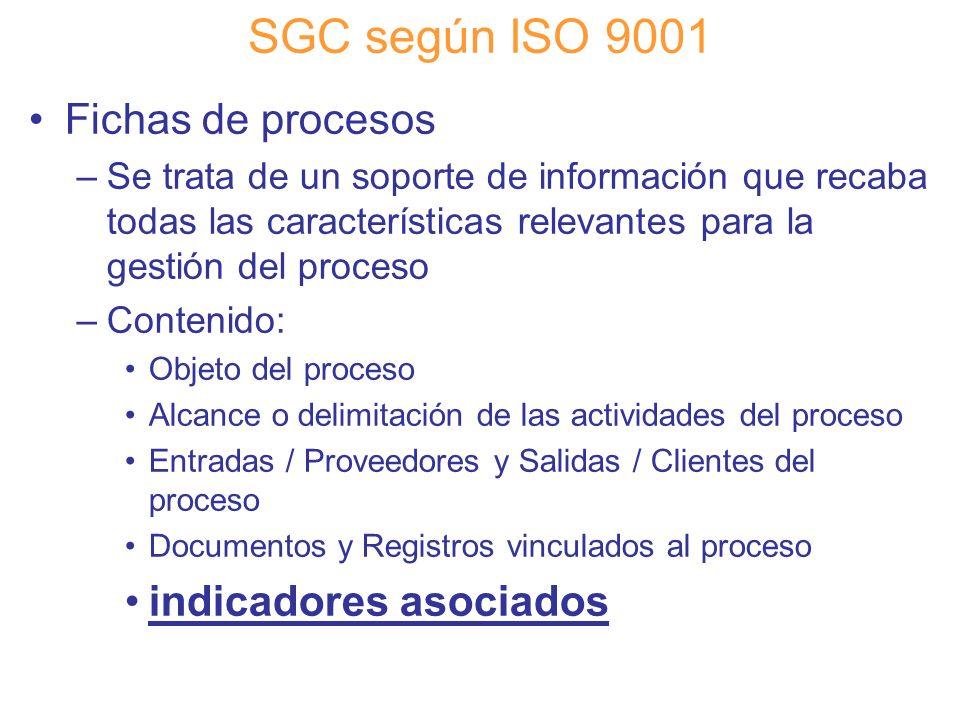 Diapositiva 70 SGC según ISO 9001 Fichas de procesos –Se trata de un soporte de información que recaba todas las características relevantes para la ge