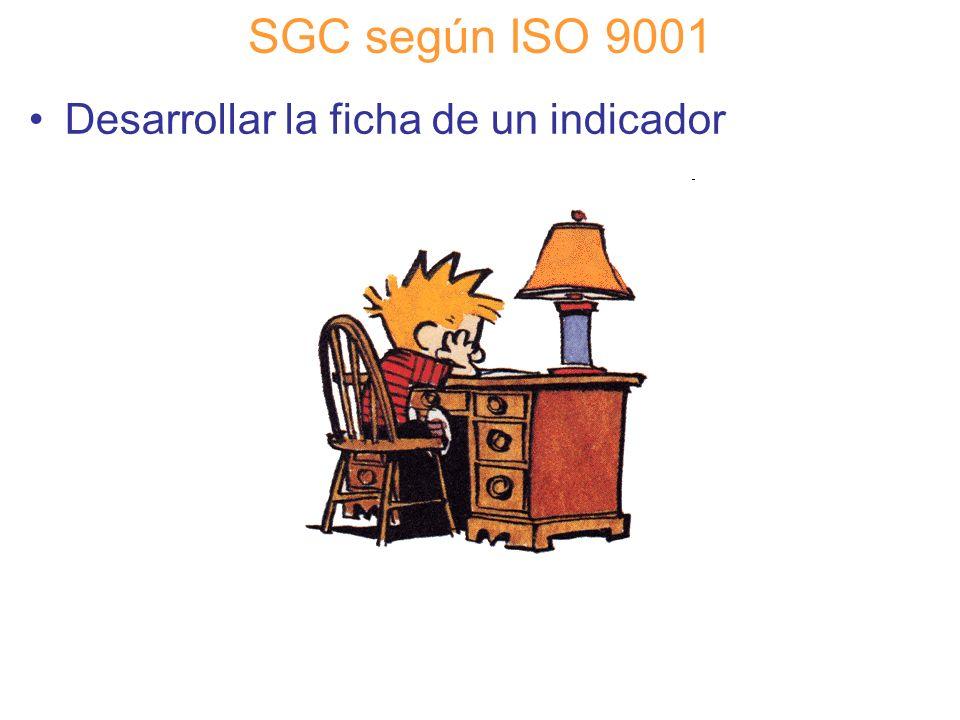Diapositiva 71 SGC según ISO 9001 Desarrollar la ficha de un indicador