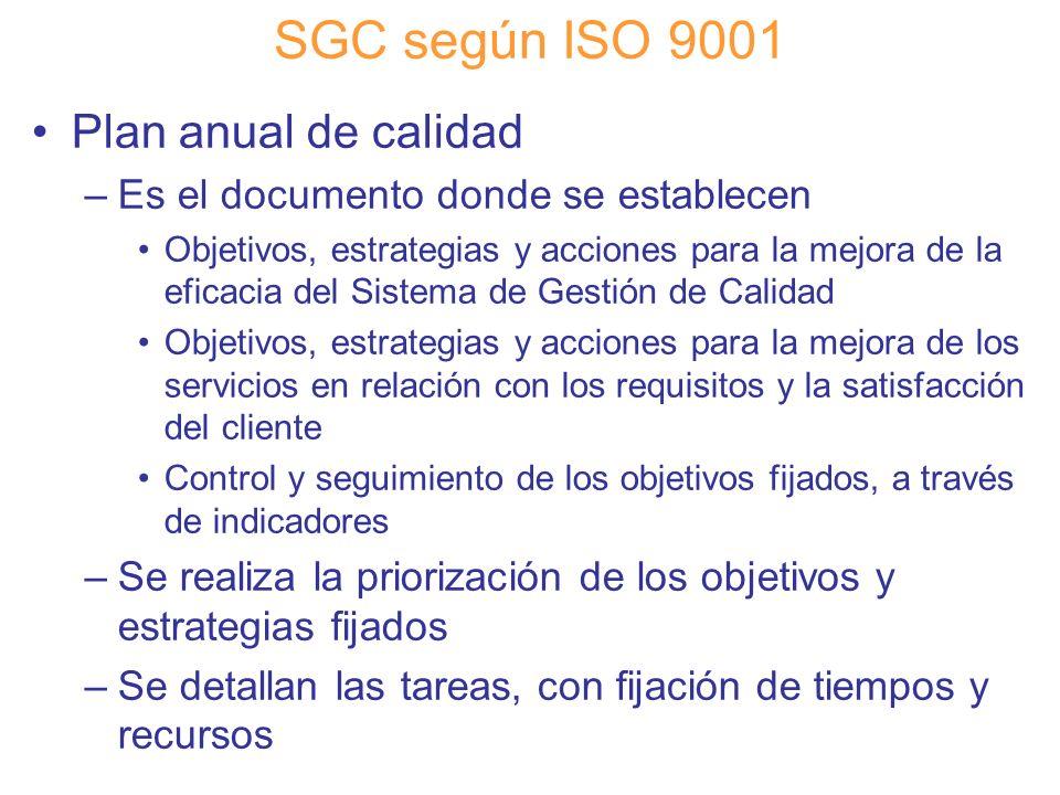 Diapositiva 76 SGC según ISO 9001 Plan anual de calidad –Es el documento donde se establecen Objetivos, estrategias y acciones para la mejora de la ef