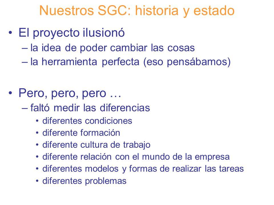 Diapositiva 9 Nuestros SGC: historia y estado No intuíamos las dificultades de trasladar un sistema llevado a cabo en otra comunidad a la nuestra Aun así lo intentamos –conscientes de que las cosas podían hacerse mejor y teníamos que probarlo ¡¡ Decidimos empezar !!