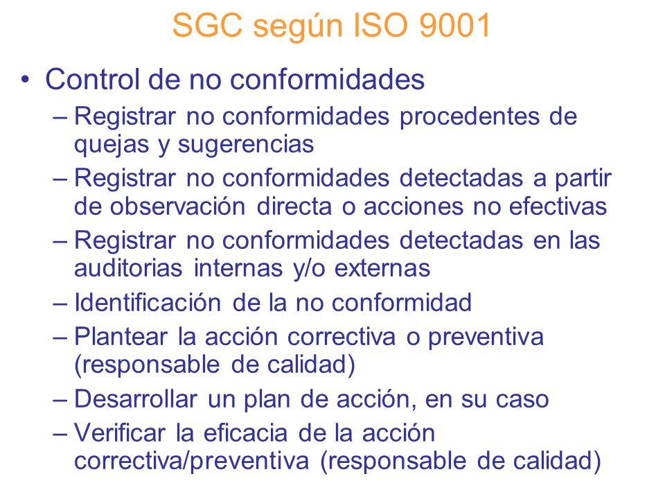 Diapositiva 81 SGC según ISO 9001 Control de no conformidades –Registrar no conformidades procedentes de quejas y sugerencias –Registrar no conformida