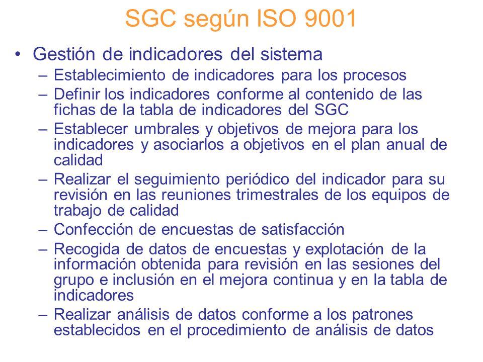 Diapositiva 82 SGC según ISO 9001 Gestión de indicadores del sistema –Establecimiento de indicadores para los procesos –Definir los indicadores confor
