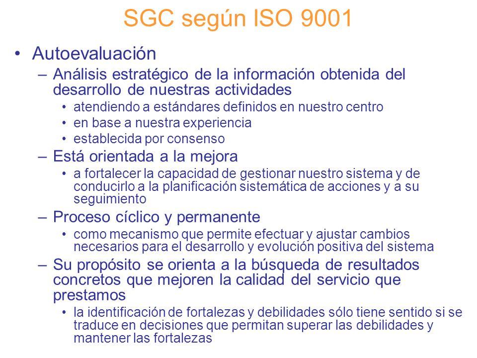 Diapositiva 85 SGC según ISO 9001 Autoevaluación –Análisis estratégico de la información obtenida del desarrollo de nuestras actividades atendiendo a