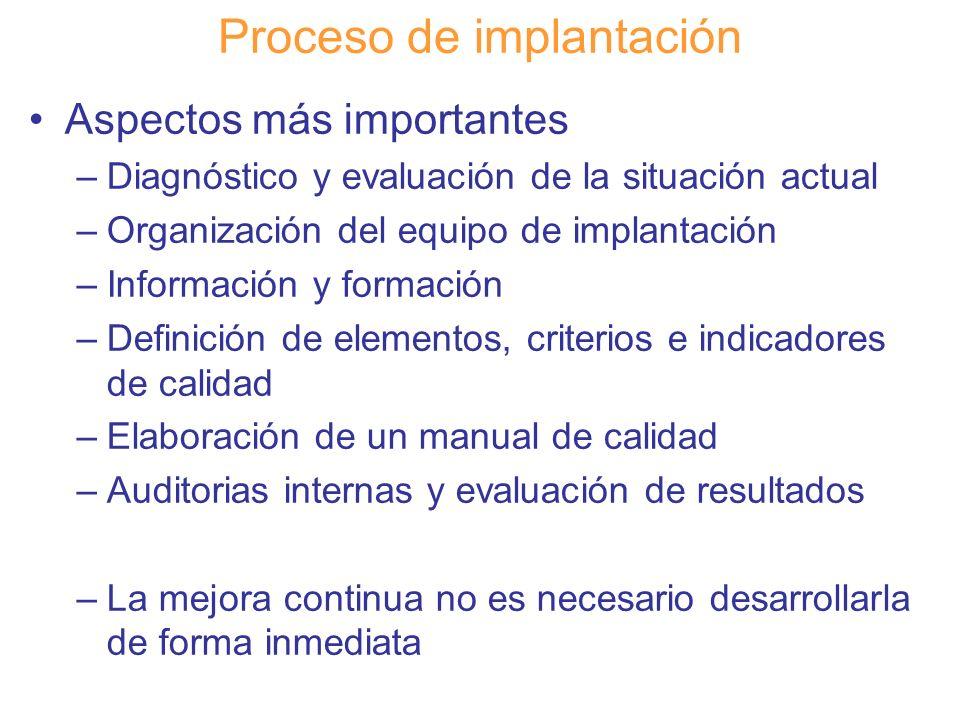 Diapositiva 97 Proceso de implantación Aspectos más importantes –Diagnóstico y evaluación de la situación actual –Organización del equipo de implantac
