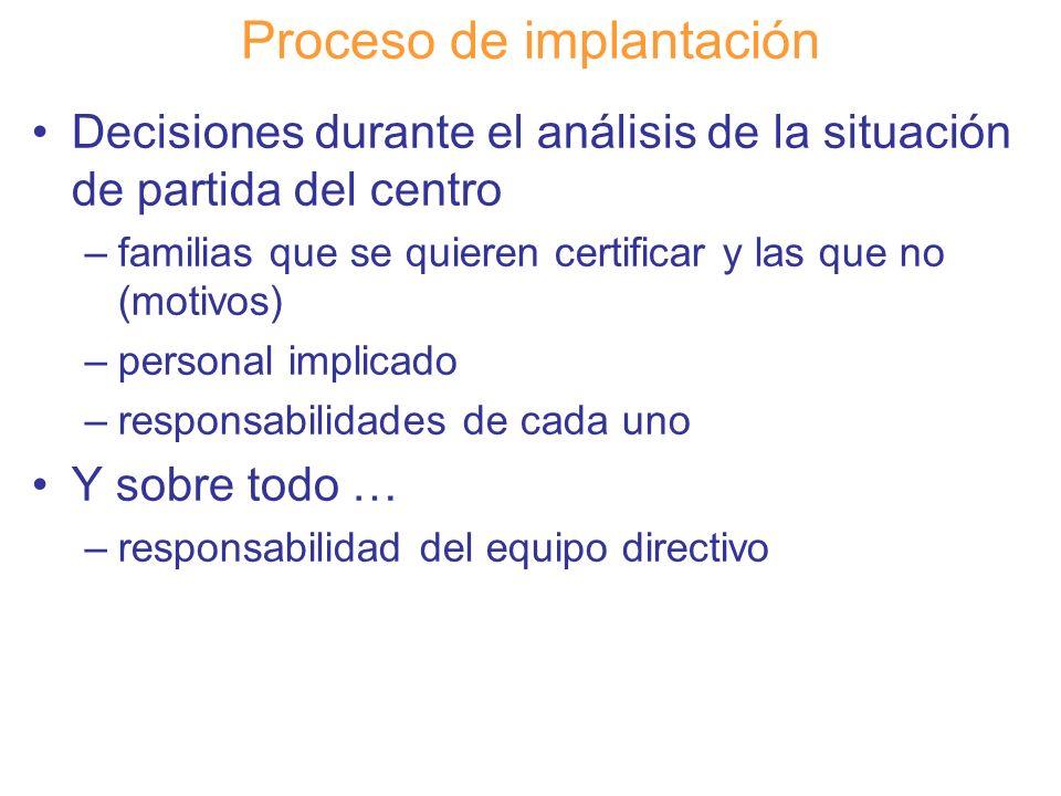 Diapositiva 98 Proceso de implantación Decisiones durante el análisis de la situación de partida del centro –familias que se quieren certificar y las