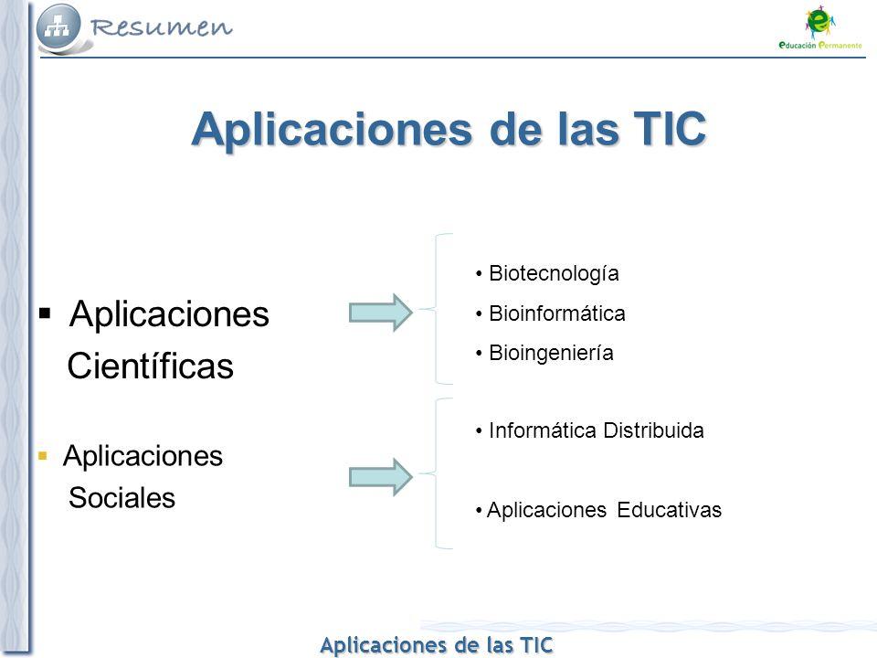 Aplicaciones de las TIC Aplicaciones de las TIC Aplicaciones de las TIC Aplicaciones Científicas Aplicaciones Sociales Biotecnología Bioinformática Bi