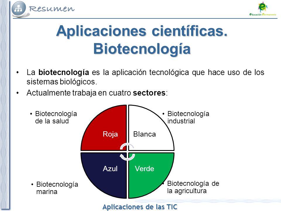 Aplicaciones de las TIC Aplicaciones de las TIC Aplicaciones científicas. Biotecnología La biotecnología es la aplicación tecnológica que hace uso de