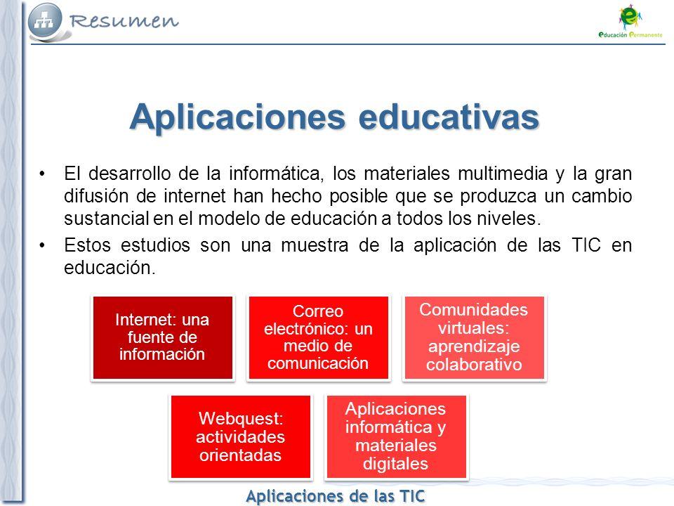Aplicaciones de las TIC Aplicaciones de las TIC Aplicaciones educativas El desarrollo de la informática, los materiales multimedia y la gran difusión