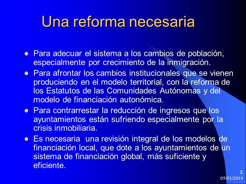 05/01/2014 3 Una reforma necesaria Para adecuar el sistema a los cambios de población, especialmente por crecimiento de la inmigración.
