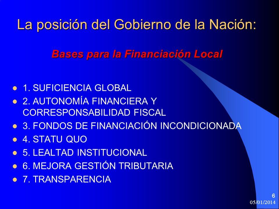 05/01/2014 6 La posición del Gobierno de la Nación: Bases para la Financiación Local 1.