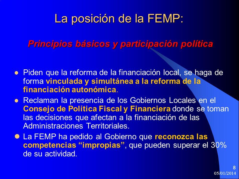 05/01/2014 8 La posición de la FEMP: Principios básicos y participación política Piden que la reforma de la financiación local, se haga de forma vinculada y simultánea a la reforma de la financiación autonómica.