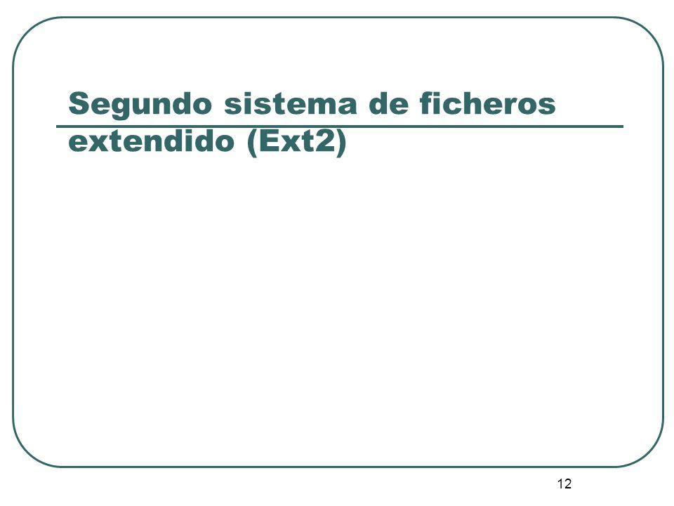 12 Segundo sistema de ficheros extendido (Ext2)