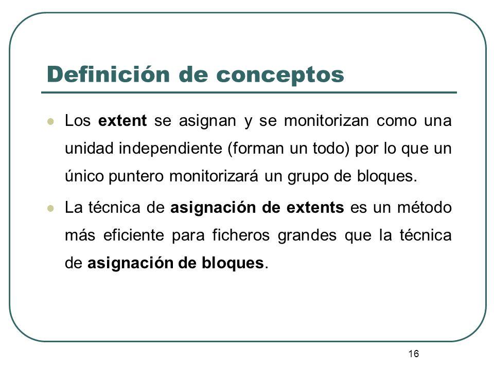 16 Definición de conceptos Los extent se asignan y se monitorizan como una unidad independiente (forman un todo) por lo que un único puntero monitoriz