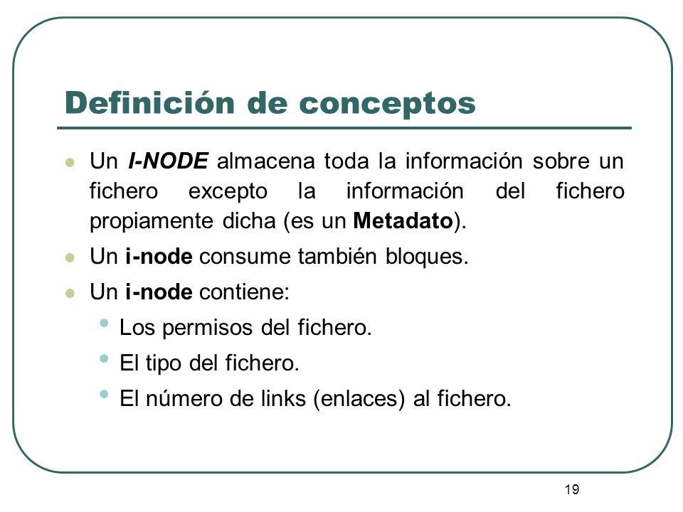 19 Definición de conceptos Un I-NODE almacena toda la información sobre un fichero excepto la información del fichero propiamente dicha (es un Metadat