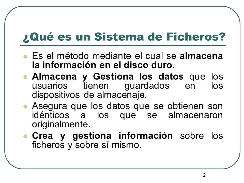 2 ¿Qué es un Sistema de Ficheros? Es el método mediante el cual se almacena la información en el disco duro. Almacena y Gestiona los datos que los usu