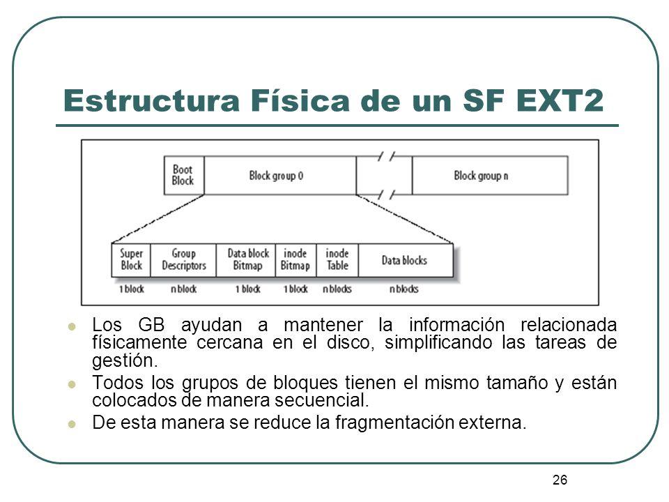 26 Estructura Física de un SF EXT2 Los GB ayudan a mantener la información relacionada físicamente cercana en el disco, simplificando las tareas de ge