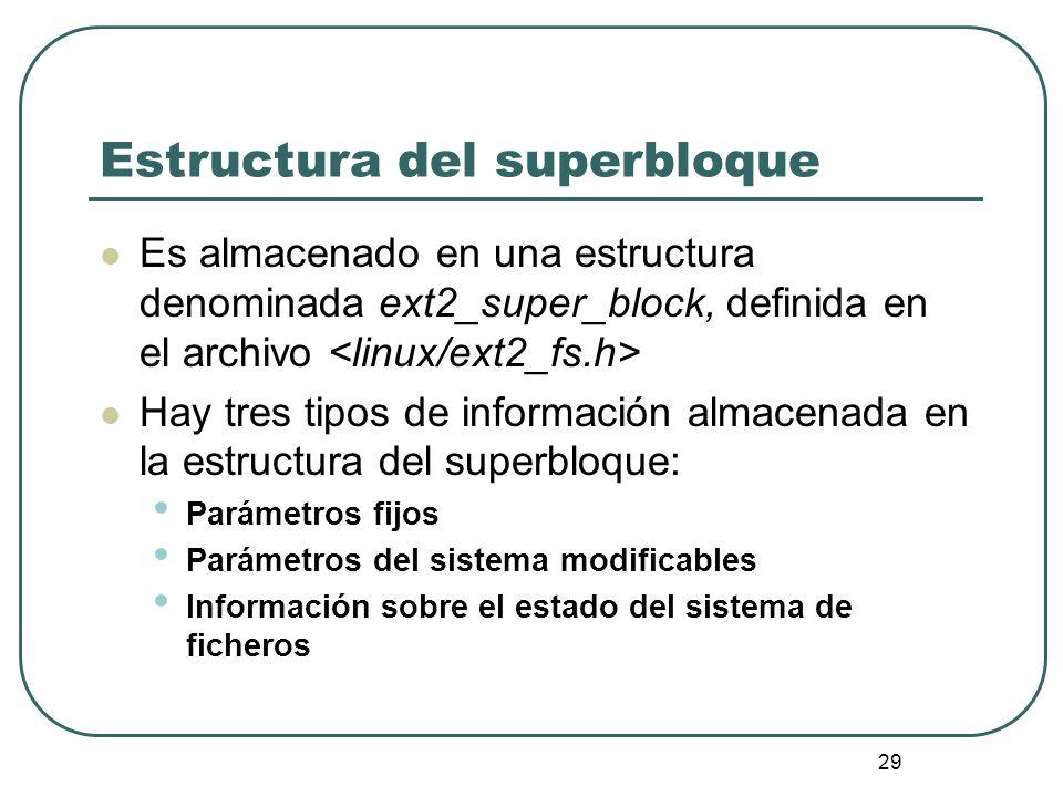 29 Estructura del superbloque Es almacenado en una estructura denominada ext2_super_block, definida en el archivo Hay tres tipos de información almace