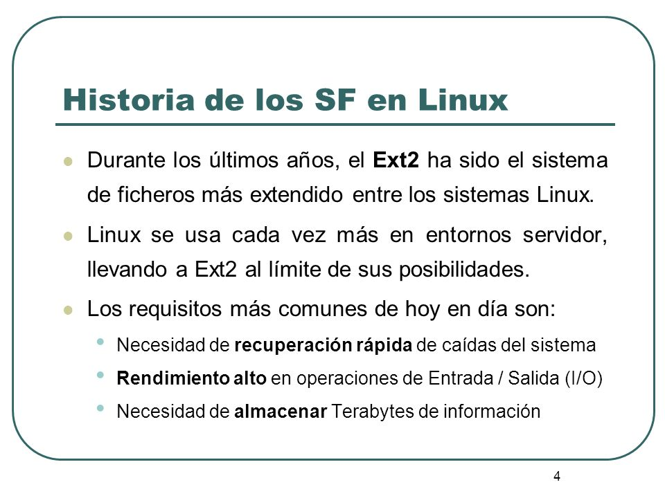 55 EXT2_READ_SUPER /* Se verifica si el modo (lect/esc) está soportado */ if (!(sb->s_flags & MS_RDONLY) && (es->s_feature_ro_compat &EXT2_FEURE_RO_COMPAT_SUPP)) { printk( EXT2-fs: %s: couldn t mount RDWR because of unsupported optional features.\n , kdevname(dev)); goto failed_mount; } /* Inicializa el tamaño de los bloques */ /* Realiza la correspondencia: 0 -> 1KB; 1 -> 2KB; 2 -> 4KB.