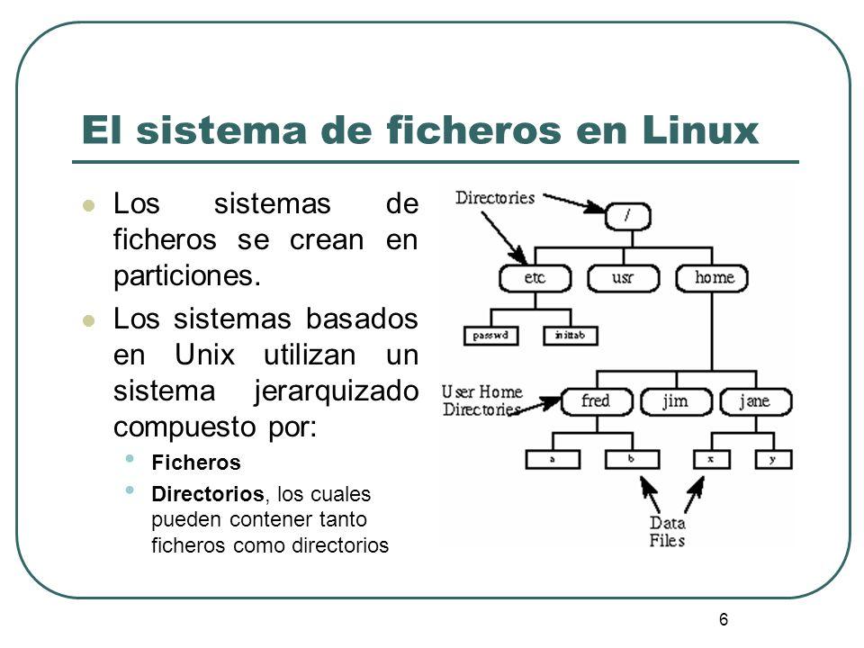 6 El sistema de ficheros en Linux Los sistemas de ficheros se crean en particiones. Los sistemas basados en Unix utilizan un sistema jerarquizado comp
