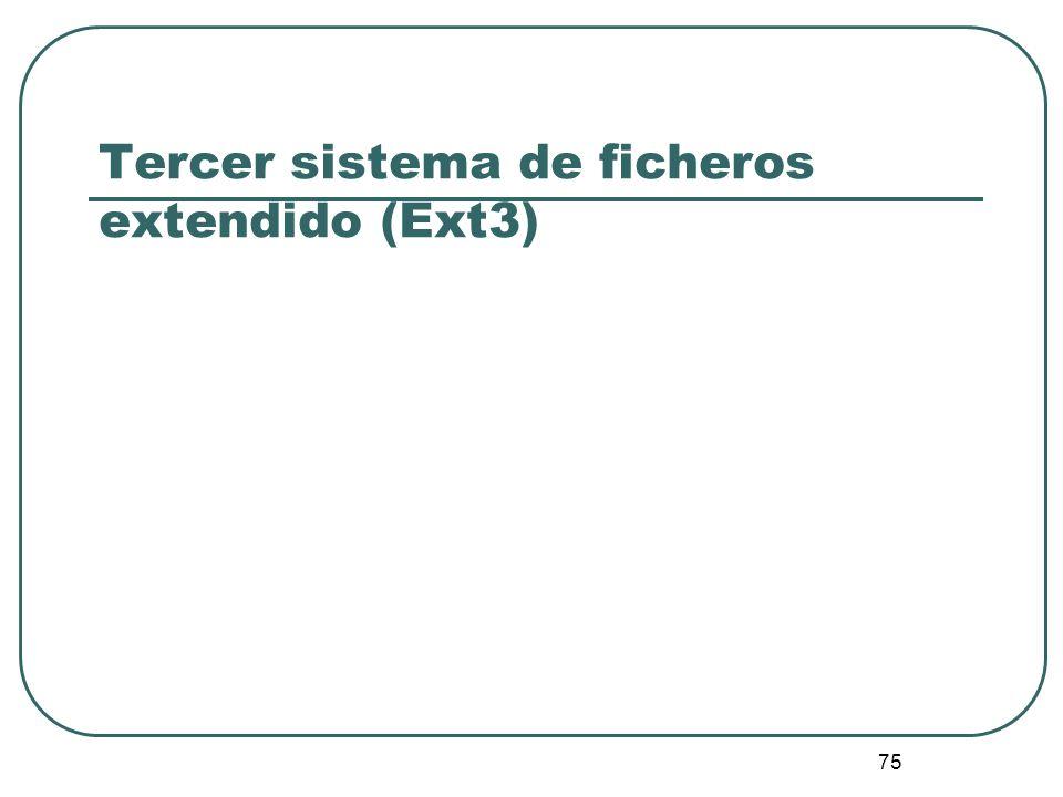 75 Tercer sistema de ficheros extendido (Ext3)
