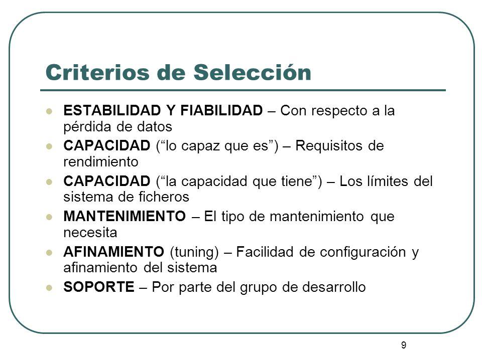 9 Criterios de Selección ESTABILIDAD Y FIABILIDAD – Con respecto a la pérdida de datos CAPACIDAD (lo capaz que es) – Requisitos de rendimiento CAPACID