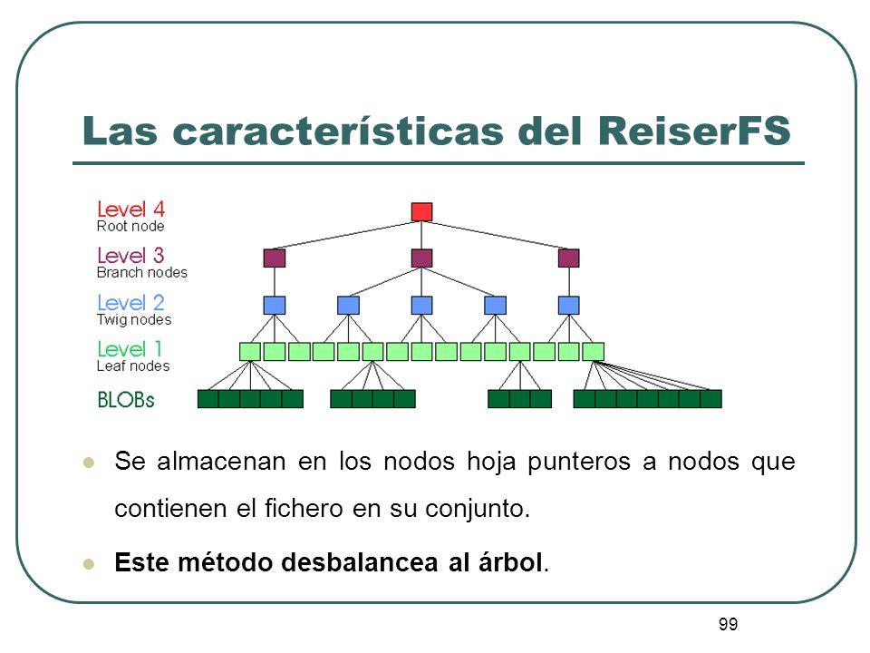 99 Las características del ReiserFS Se almacenan en los nodos hoja punteros a nodos que contienen el fichero en su conjunto. Este método desbalancea a