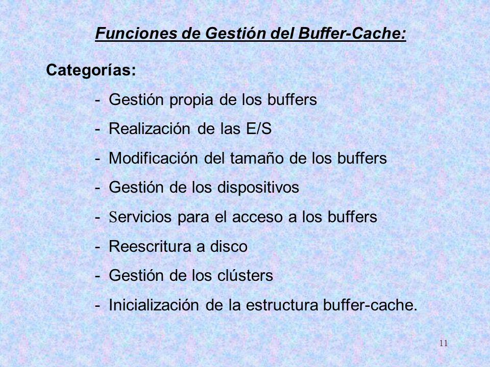 11 Categorías: - Gestión propia de los buffers - Realización de las E/S - Modificación del tamaño de los buffers - Gestión de los dispositivos - S erv