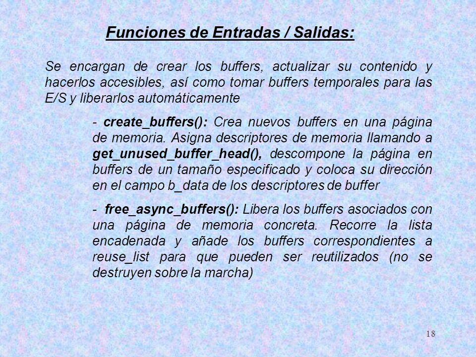 18 Funciones de Entradas / Salidas: Se encargan de crear los buffers, actualizar su contenido y hacerlos accesibles, así como tomar buffers temporales