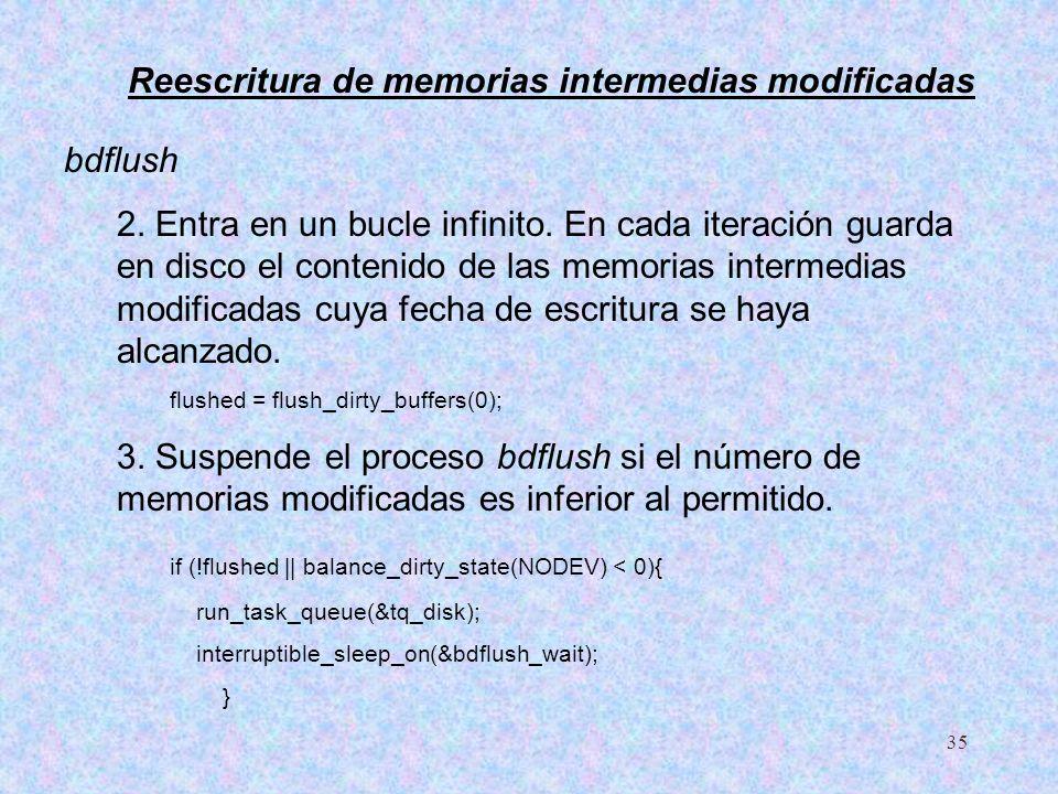 35 bdflush 2. Entra en un bucle infinito. En cada iteración guarda en disco el contenido de las memorias intermedias modificadas cuya fecha de escritu
