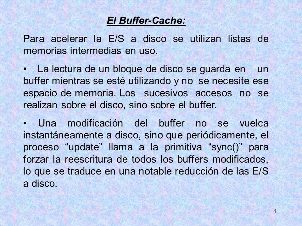 4 El Buffer-Cache: Para acelerar la E/S a disco se utilizan listas de memorias intermedias en uso. La lectura de un bloque de disco se guarda en un bu
