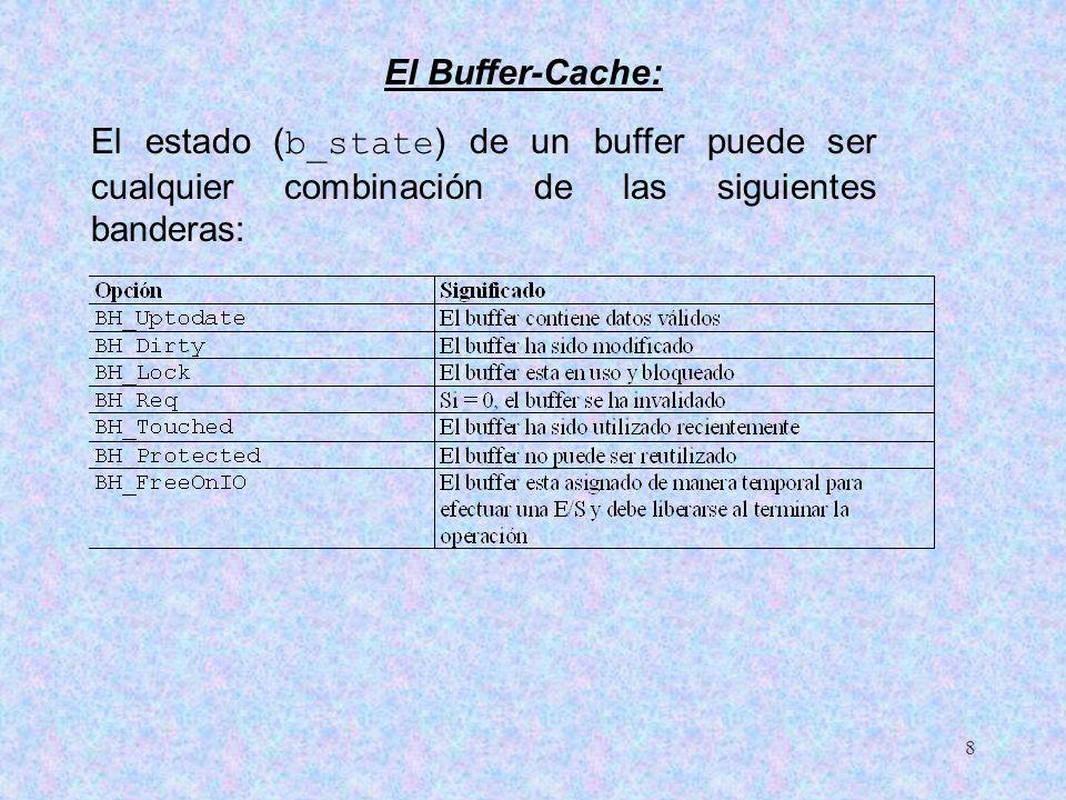 8 El estado ( b_state ) de un buffer puede ser cualquier combinación de las siguientes banderas: El Buffer-Cache: