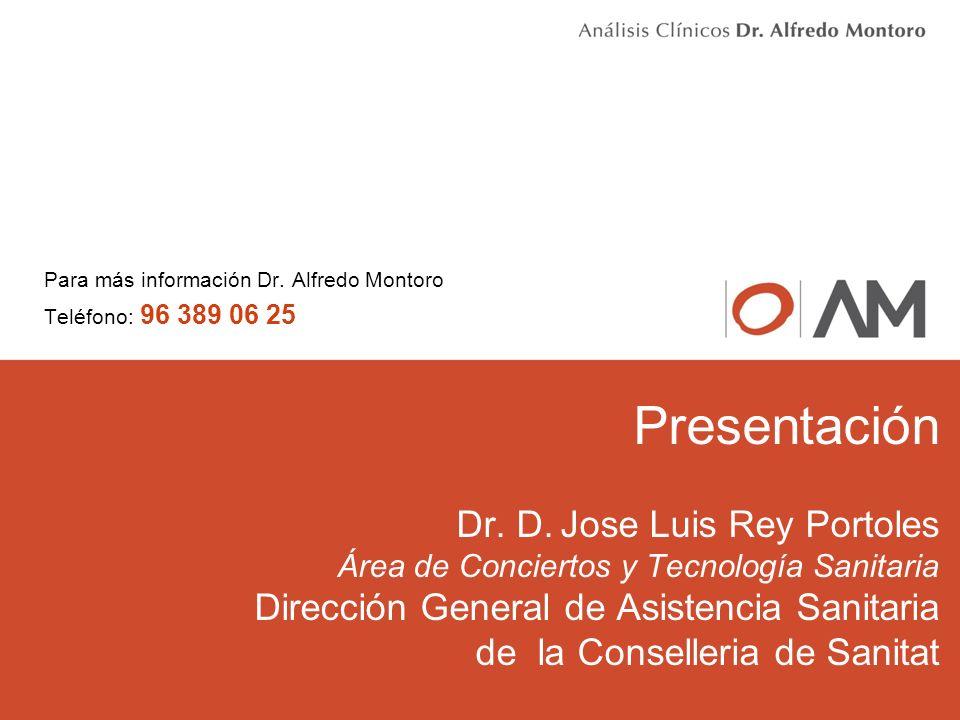 Presentación Dr. D. Jose Luis Rey Portoles Área de Conciertos y Tecnología Sanitaria Dirección General de Asistencia Sanitaria de la Conselleria de Sa
