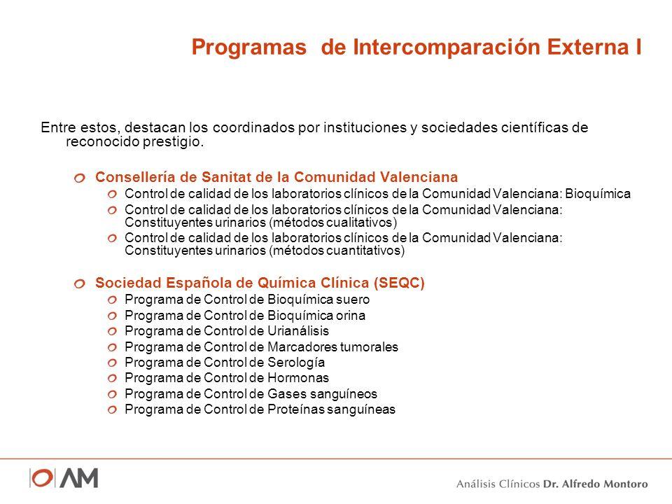 Programas de Intercomparación Externa I Entre estos, destacan los coordinados por instituciones y sociedades científicas de reconocido prestigio. Cons