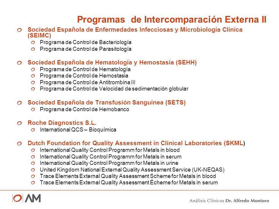 Sociedad Española de Enfermedades Infecciosas y Microbiología Clínica (SEIMC) Programa de Control de Bacteriología Programa de Control de Parasitologí