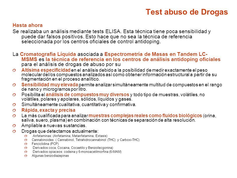 Test abuso de Drogas Hasta ahora Se realizaba un análisis mediante tests ELISA. Esta técnica tiene poca sensibilidad y puede dar falsos positivos. Est
