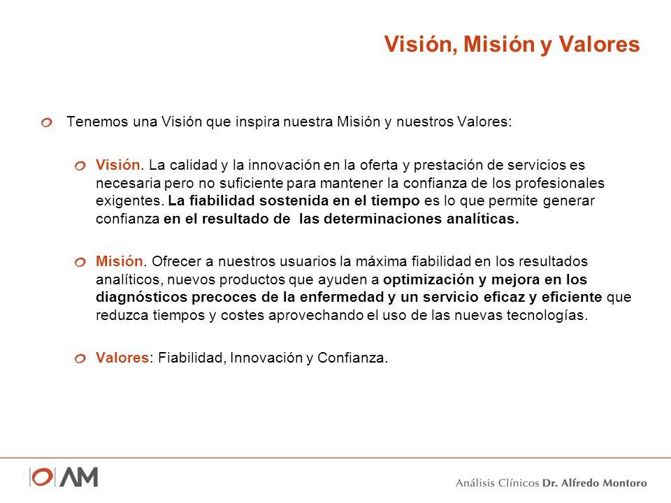 Visión, Misión y Valores Tenemos una Visión que inspira nuestra Misión y nuestros Valores: Visión. La calidad y la innovación en la oferta y prestació