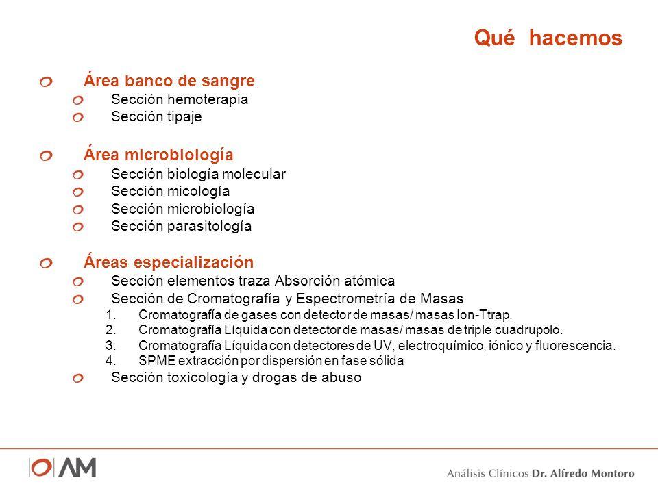Qué hacemos Área banco de sangre Sección hemoterapia Sección tipaje Área microbiología Sección biología molecular Sección micología Sección microbiolo