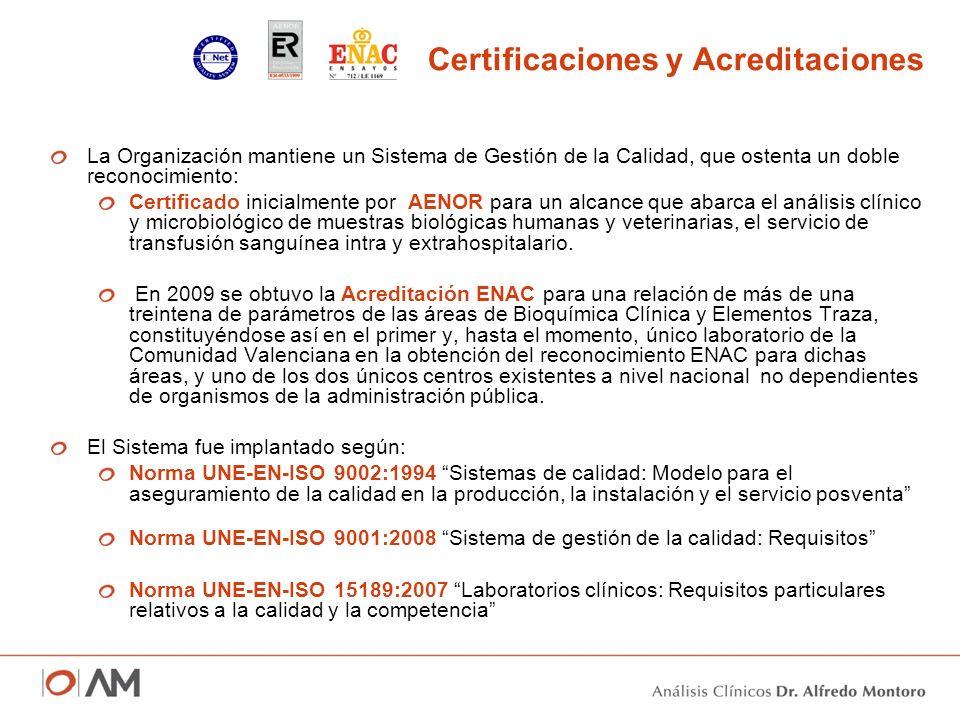 Certificaciones y Acreditaciones La Organización mantiene un Sistema de Gestión de la Calidad, que ostenta un doble reconocimiento: Certificado inicia