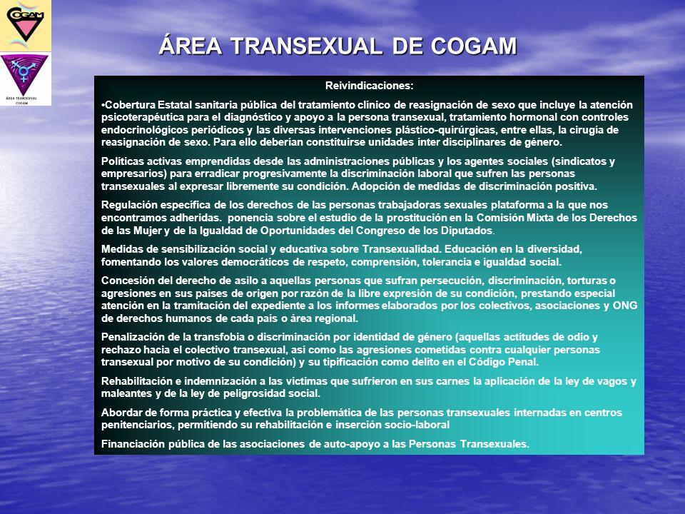 Reivindicaciones: Cobertura Estatal sanitaria pública del tratamiento clínico de reasignación de sexo que incluye la atención psicoterapéutica para el