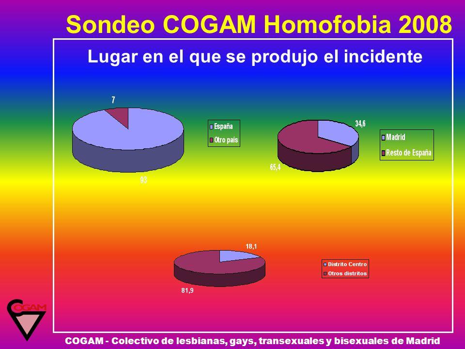 Sondeo COGAM Homofobia 2008 COGAM - Colectivo de lesbianas, gays, transexuales y bisexuales de Madrid Lugar en el que se produjo el incidente