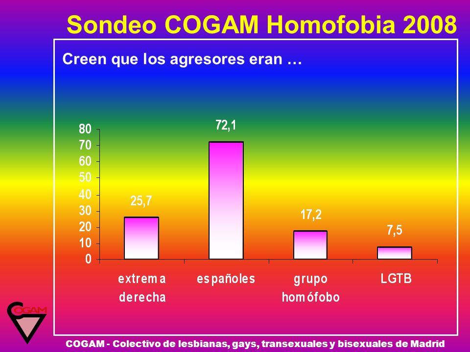Sondeo COGAM Homofobia 2008 COGAM - Colectivo de lesbianas, gays, transexuales y bisexuales de Madrid Creen que los agresores eran …